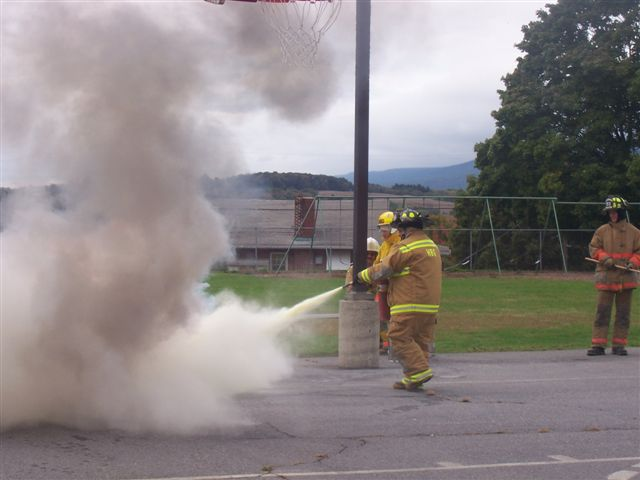 Firefighters then showed how quickly the very same fire can be extinguished by using the proper fire extinguisher.