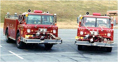 1972 (left) and 1967 (right) Ford-Hahn pumpers